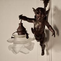 A Pretty French Ormolu Cherub Wall Light (6 of 9)