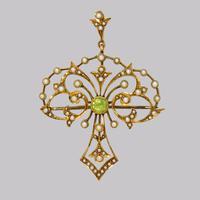 Edwardian 15ct Gold Peridot & Pearl Pendant Antique Art Nouveau Brooch Circa 1910