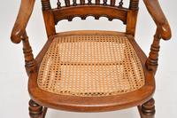 Antique Victorian Carved & Cane Seated Armchair (6 of 11)