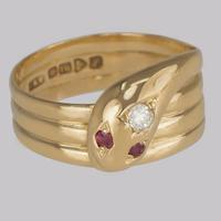 Antique Diamond Snake Ring 18ct Gold Coiled Serpent with Ruby Eyes Hallmarked Chester 1918
