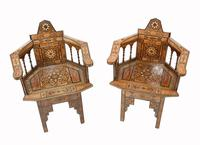 Pair of Damascan Chairs Inlay Arabic Syrian Interiors c.1920 (2 of 12)