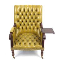 Regency Style Mahogany Library Chair with Mustard Leather Button Back (4 of 6)