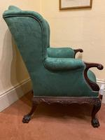 George II Style Solid Mahogany Ornately Carved Wing Armchair (5 of 10)