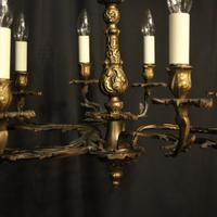 French Gilded Brass 10 Light Antique Chandelier (7 of 10)