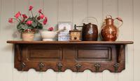 French Oak Wall Shelf With Hooks (2 of 5)