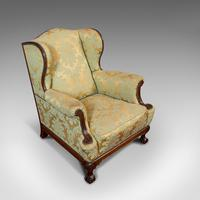 Antique Wing-Back Armchair, English, Lounge, Fireside, Seat, Edwardian c.1910 (8 of 12)