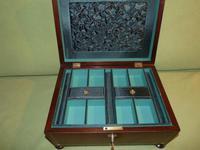 Large Inlaid Rosewood Jewellery Box + Tray c.1850