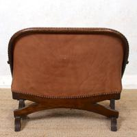 Carved Oak Leather Bucket Sofa & Chair (10 of 24)