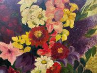 Large 19th Century French Farmhouse Impressionist Still Life Floral Oil Painting Signed (9 of 12)