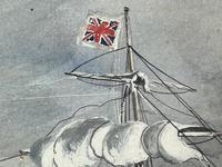 """Edwardian Watercolour """"Champion Of The Seas"""" Ship Black Ball Line Off Cape of Good Hope Signed Pierhead Artist Williams (13 of 39)"""