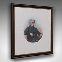 Antique Portrait, English, Framed Ceramic Painting, Photographs, Victorian, 1890