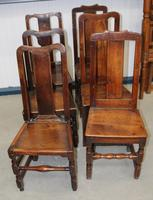 1850's Set 6 Oak Harlequin Dining Chairs