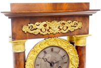 Fine Antique Flame Mahogany Mantel Clock French Striking Portico Mantle Clock (11 of 13)