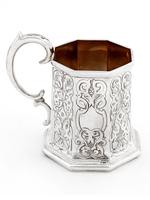 Early Victorian Octagonal Silver Christening Mug (2 of 6)