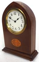 Solid Mahogany Lancet Cased Timepiece Clock with Satinwood Inlaid Decoration (9 of 9)