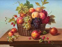 Original Vintage Still Life of Fruit & Flowers - 'Tom Caspers' 20thc British (12 of 12)