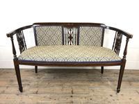 Antique Edwardian Mahogany Inlaid Parlour Sofa (3 of 15)