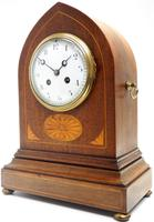 Fantastic French Inlaid Lancet Mantel Clock Multi Wood inlay 8 Day Striking Mantle Clock (10 of 10)