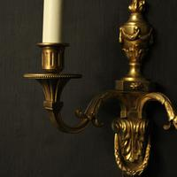 French Set of 3 Twin Arm Antique Wall Lights (8 of 10)