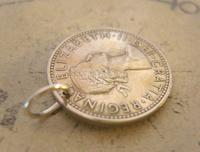 Vintage Pocket Watch Chain Fob 1956 Lucky Silver One Shilling Old 5d Coin Fob (4 of 7)
