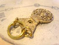 Georgian Pocket Watch Chain Fob 1830s Antique Large Brass Verge Balance Cock Fob (6 of 9)