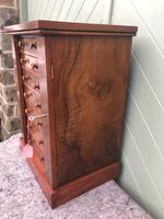 Antique Small Walnut Wellington Collectors Chest (3 of 10)