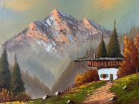 The Three Peaks 20thc Vintage Swiss School - Mountainous Landscape Oil Painting (5 of 12)
