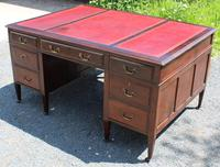 1920s Mahogany Partners Desk with Red Leather on Top (5 of 6)