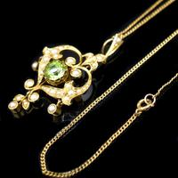 Antique Peridot and Pearl Lavalier 15ct 15K Gold Drop Pendant Necklace and Brooch (6 of 12)