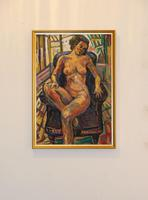 Seated Female Nude Oil on Board by Dino Mazzzoli 1988 (2 of 5)