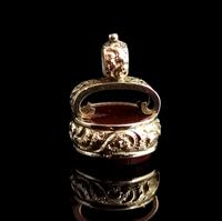 Antique Victorian 9ct Gold Carnelian Seal Fob (3 of 13)
