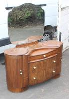 1940's Large Walnut Deco Dressing Table with Mirror by Shraeger (5 of 8)