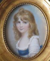 Hand Painted Miniature Portrait Young Girl c.1920 (2 of 3)