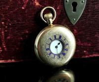 Antique Half Hunter Pocket Watch, Gold Plated, Waltham (6 of 11)