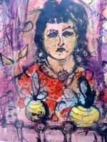 Mixed Media Girl in the Window Artist Claude Rowbothan 1955 (9 of 10)