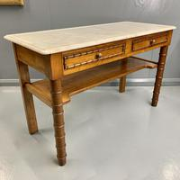 French Marble Top Faux Bamboo Dressing Table (2 of 8)