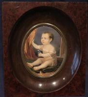 Miniature Portrait 1830 Young Child Holding a Small Flower