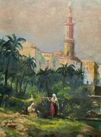 Large Early 1900s North African Cityscape with Mosque Oil Painting on Canvas (10 of 15)