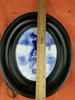 Rare Antique Royal Doulton Blue & White Mother & Girl Framed Oval Plaque C1910 (3 of 12)