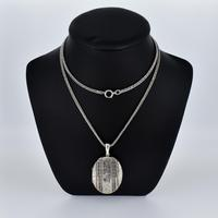 Antique Aesthetic Large Sterling Silver Locket with Long Curb Chain Necklace (2 of 11)