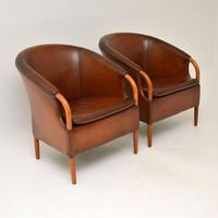 Pair of Danish Vintage Leather Armchairs by Mogens Hansen (3 of 11)