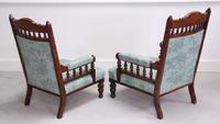Pair of Victorian Carved Oak 'His & Hers' Easy Chairs (4 of 6)