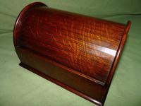 Compact Figured Oak Roll Top Stationery Box. c1900 (11 of 14)