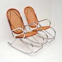 1970's Pair of Retro Chrome & Bamboo Rocking Chairs