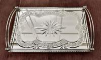 Art Deco Silver Plated Cut Glass Mirror Tray (9 of 11)