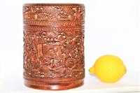 Finely Carved Chinese Bamboo Circular Lidded Pot (3 of 6)
