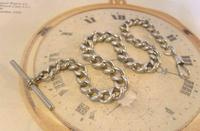 Antique Silver Pocket Watch Chain 1890s Victorian Graduated Curb Link Albert & T Bar (4 of 11)