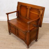 Oak Monks Bench Settle Carved Folding Hall Arts & Crafts (6 of 12)