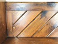 Antique Pitch Pine Church Pew with Enamel Number 28 (9 of 12)