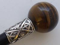 Victorian Walking Stick Cane 1886 Solid Silver Tigers Eye Pommel Ebony Shaft (8 of 11)